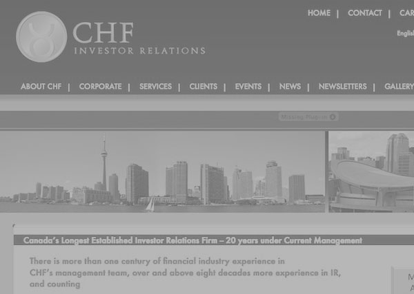 CHF Investor Relations web design and graphic design, branding, marketing, advertising, Toronto, Greater Toronto Area, GTA, Stouffville, York Region, Aurora, Newmarket, Markham, Richmond Hill, Ontario